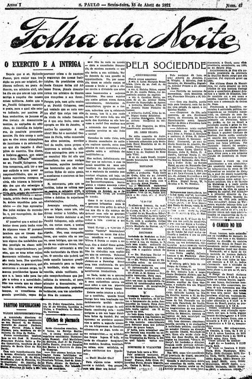 Primeira Página da Folha da Noite de 15 de abril de 1921
