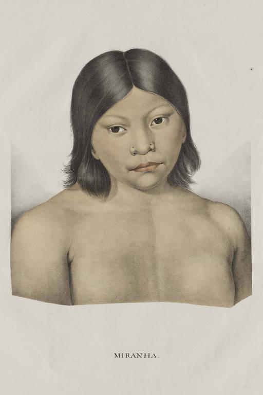 gravura colorida de uma índia criança