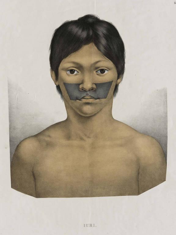 desenho colorido de índio criança com pintura toda em preto no meio do rosto em formato de retangulo
