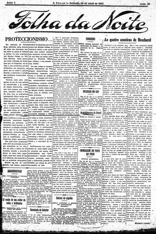 Primeira Página da Folha da Noite de 16 abril de 1921