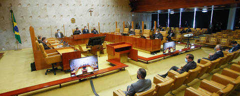 BRASILIA, DF, 1-2-2021 - O presidente do Supremo Tribunal Federal (STF), ministro Luiz Fux, ao lado do presidente Jair Bolsonaro e do presidente do senado Davi Alcolumbre durante a sessão solene de Abertura do Ano Judiciário de 2021, que será realizada em formato híbrido, ou seja, virtual e presencial. (Foto: Fellipe Sampaio/STF)
