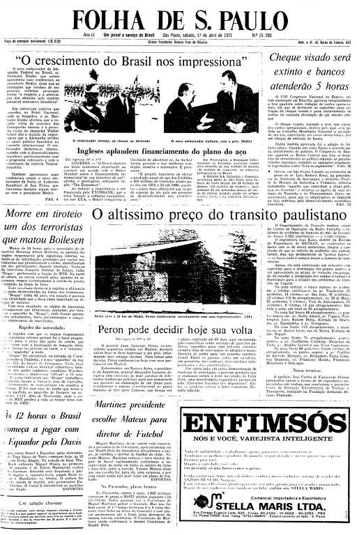 Primeira Página da Folha de 17 de abril de 1971