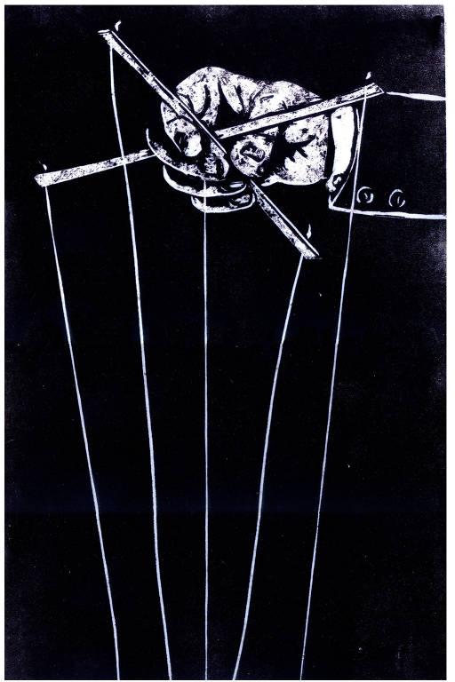 na xilogravura, uma mão de titereiro (ou bonequeiro) segura as hastes com fios usadas para  manipulação de bonecos (ou títeres)