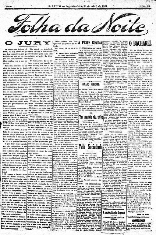 Primeira Página da Folha da Noite de 18 de abril de 1921