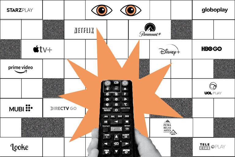 controle remoto apontado para tela com os logos de 14 serviços de streaming