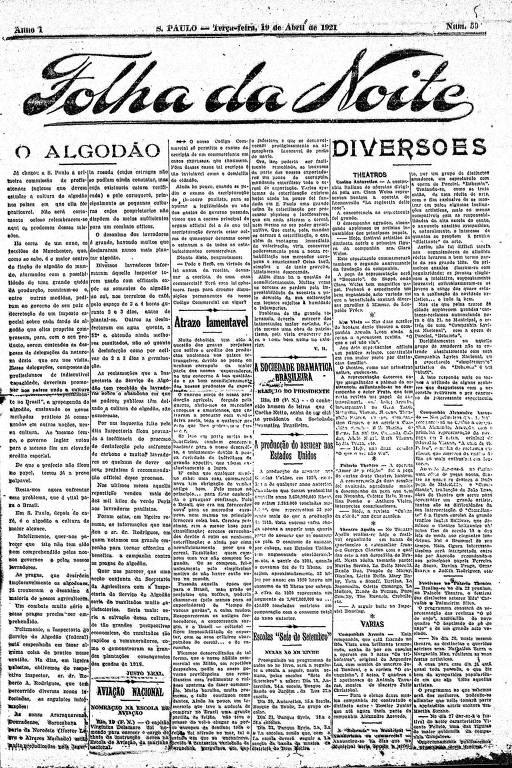 Primeira Página da Folha da Noite de 19 de abril de 1921