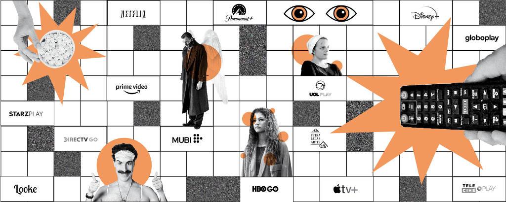 controle remoto apontando para tela com os logos de 14 serviços de streaming