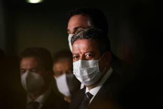 O presidente da Câmara dos Deputados Arthur Lira durante coletiva