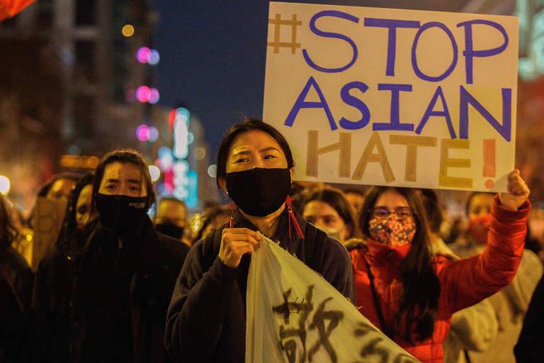 .Protesto em Washington após massacre na Geórgia pede fim do ódio contra asiáticos
