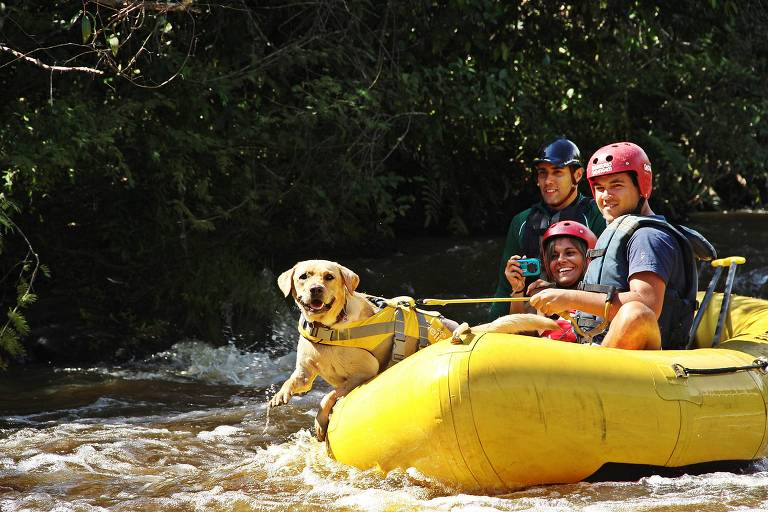 Rafting pet friendly da empresa Canoar, em Brotas