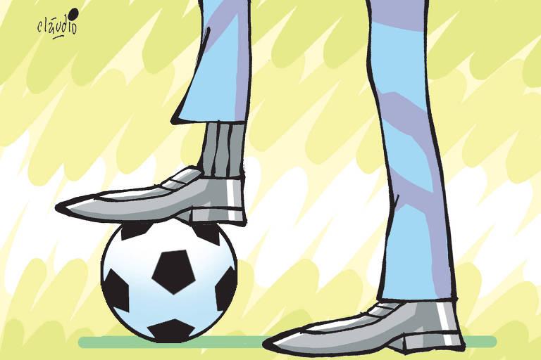 charge mostrando os pés de um cartola de futebol de sapatos e calça pisando em uma bola