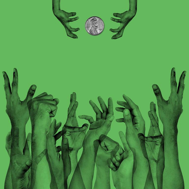 ilustracao com fundo verde bandeira com varias maos na parte inferior tentando pegar uma moeda na parte superior