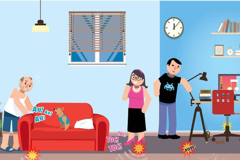 ilustração mostrando pessoas reckamando de barulho dentro de seu apartamento