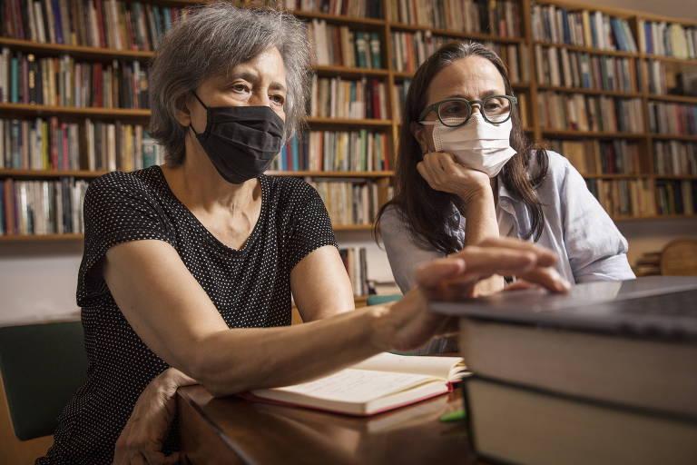 A escritora Beatriz Bracher e a galerista Mari Stockler, em entrevista remota à Folha