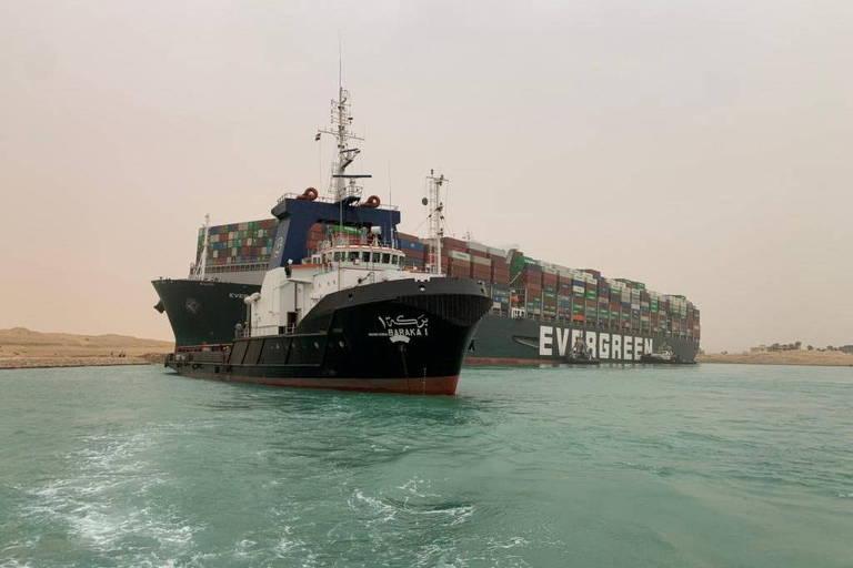 A empresa Evergreen Marine, que opera o navio, afirmou que o navio havia entrado no Canal de Suez vindo do Mar Vermelho