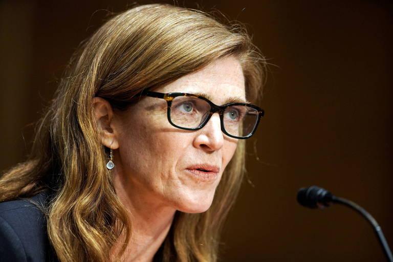 A ex-embaixadora dos EUA nas Nações Unidas Samantha Power, escolhida por Joe Biden para liderar a Agência dos EUA para o Desenvolvimento Internacional, durante audiência de confirmação no Seado