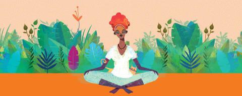 Ilustração para a ferramenta Match da Saúde com mulher fazendo ioga (não usar em outro contexto)