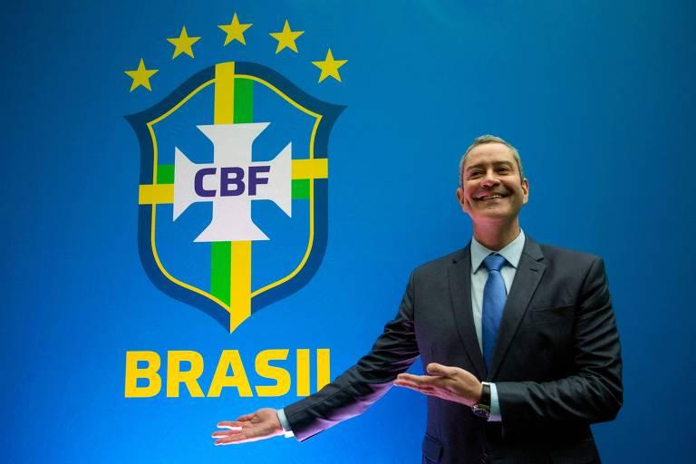 Rogério Caboclo ao tomar posse como presidente da CBF, em 2019