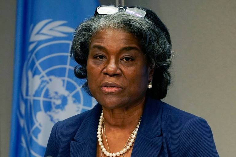 A embaixadora dos EUA na ONU, Linda Thomas-Greenfield, durante entrevista coletiva