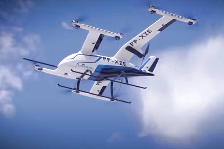 Protótipo do eVTOL (veículo elétrico de decolagem e pouso vertical) em desenvolvimento pela Embraer