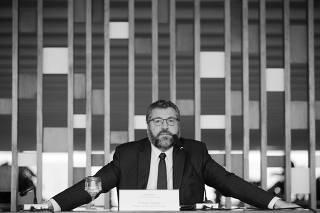 O ministro das Relações Exteriores, Ernesto Araújo, durante entrevista coletiva