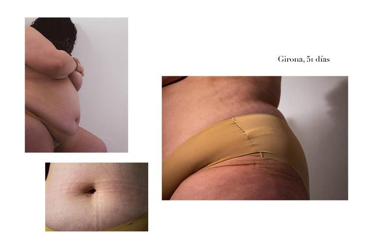 Autorretratos de colaboradoras anônimas selecionados para a exposição Anatomia do Confinamento, de Andrea Ruiz; as fotos são acompanhadas da localidade e dos dias transcorridos desde o início do confinamento domiciliar na Espanha, decretado em março de 2020