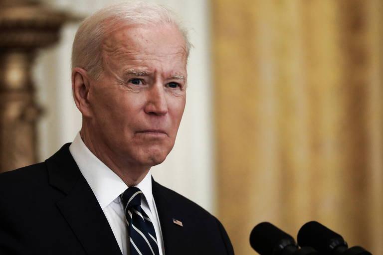 O presidente dos EUA, Joe Biden, durante sua primeira entrevista coletiva desde que assumiu