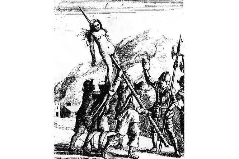 Gravura do século 17 ilustrando massacre de hereges na região de Piemonte, atual Itália