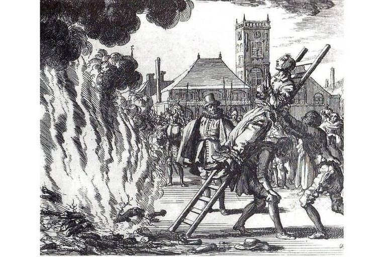 Gravura que mostra execução na fogueira por Inquisição