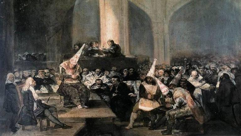 Quadro de Goya retratando um julgamento da Inquisição