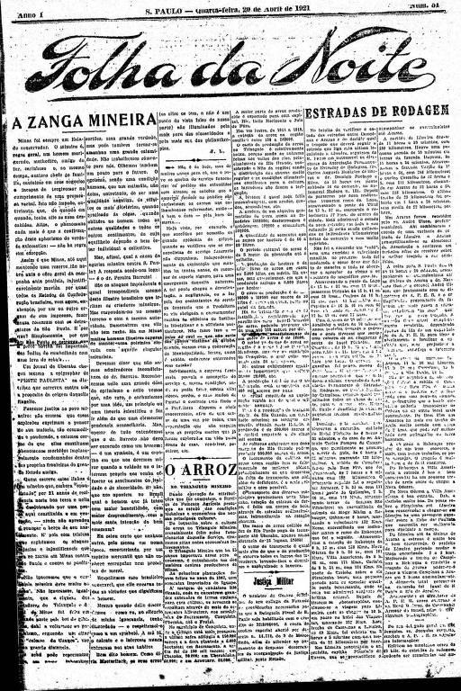Primeira Página da Folha da Noite de 20 de abril de 1921