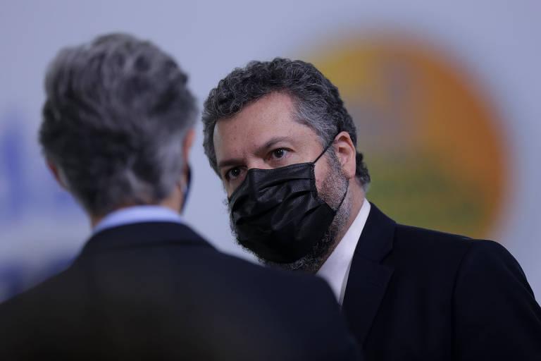 O ex-ministro das Relações Exteriores Ernesto Araújo no Palácio do Planalto