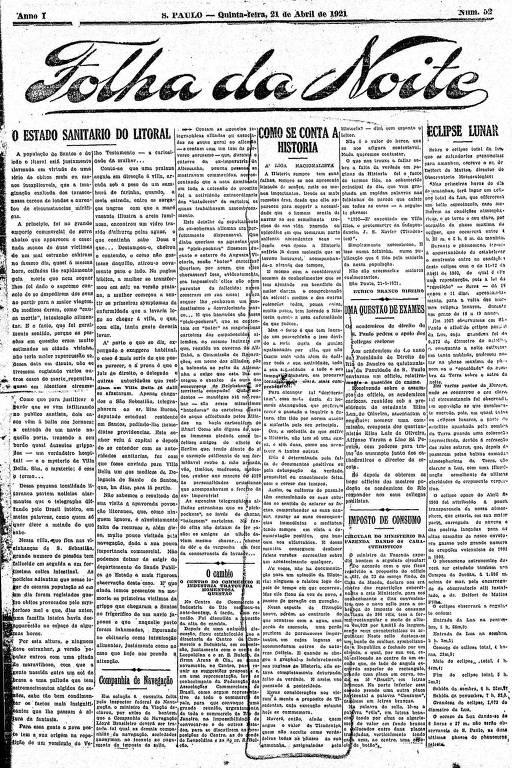 Primeira Página da Folha da Noite de 21 de abril de 1921