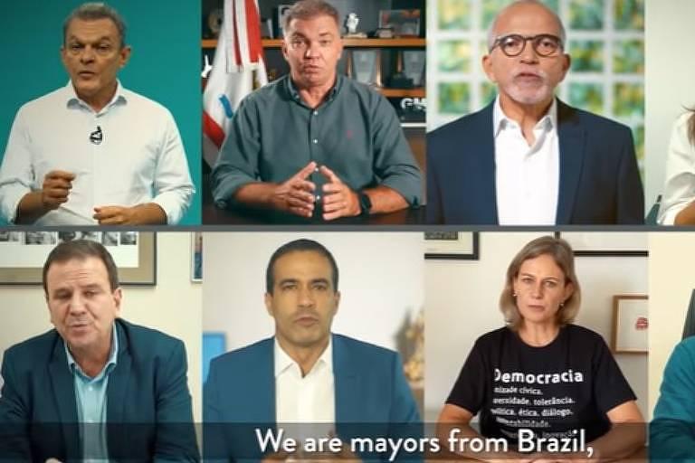 Prefeitos de oito cidades brasileiras pediram em vídeo ajuda internacional para combater a Covid