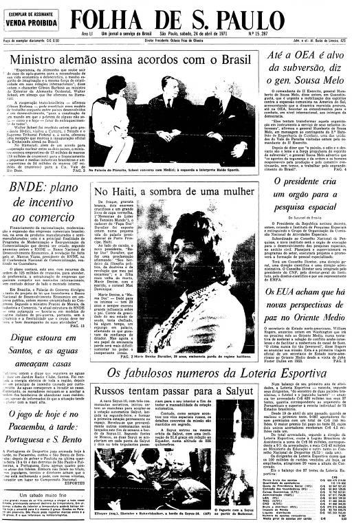 Primeira Página da Folha de 24 de abril de 1971