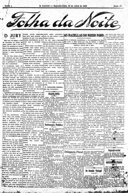 Primeira Página da Folha da Noite de 25 de abril de 1921
