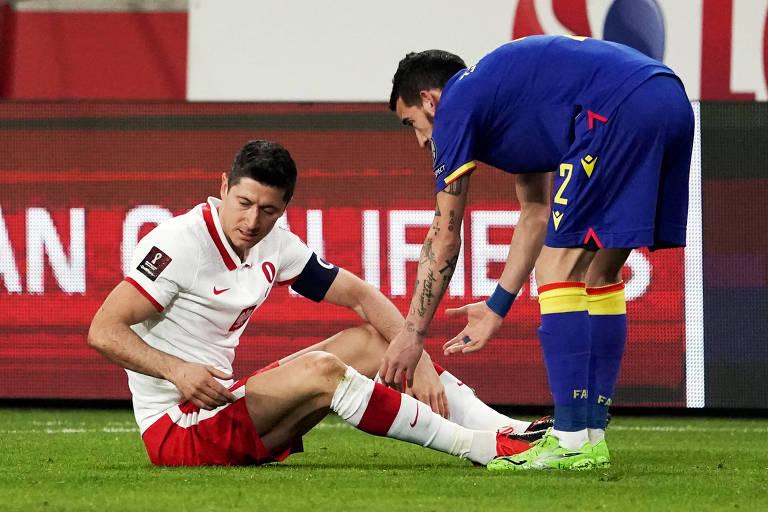 Lewandowski se lesionou no confronto com Andorra, pelas eliminatórias do Mundial do Qatar