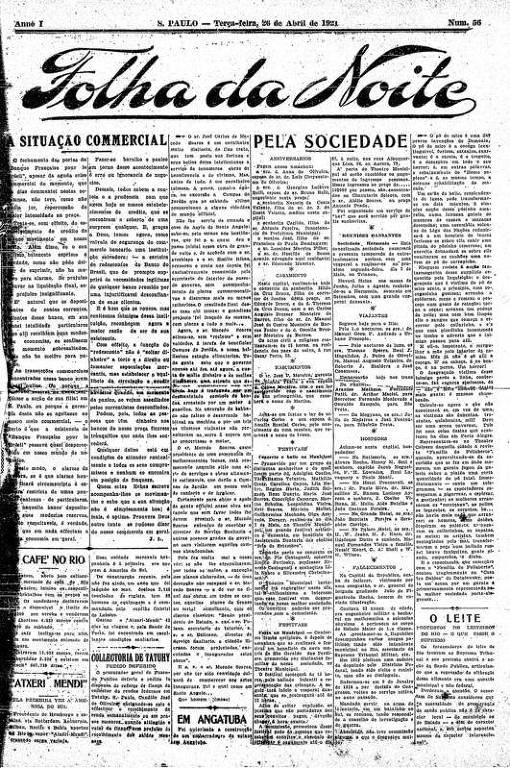 Primeira Página da Folha da Noite de 26 de abril de 1921