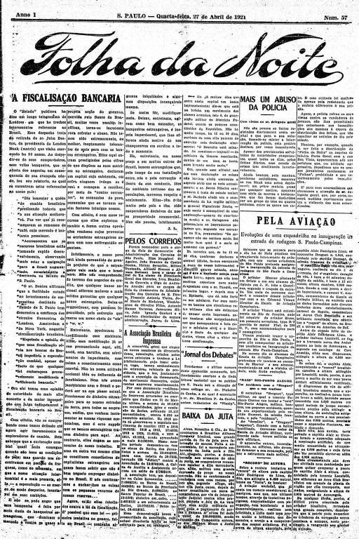 Primeira Página da Folha da Noite de 27 de abril de 1921