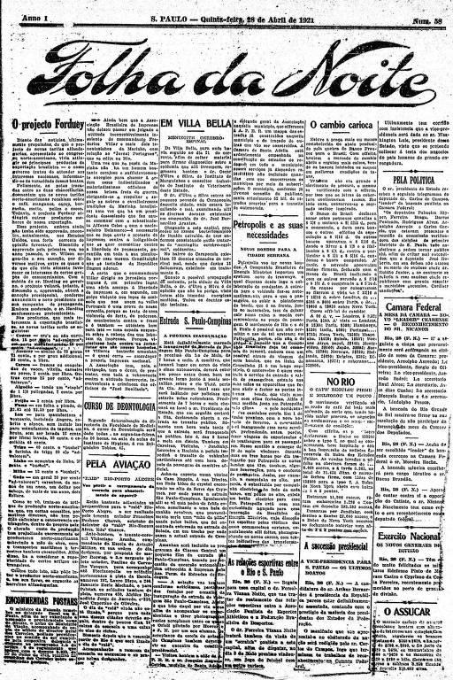 Primeira Página da Folha da Noite de 28 de abril de 1921