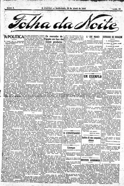 Primeira Página da Folha da Noite de 29 de abril de 1921