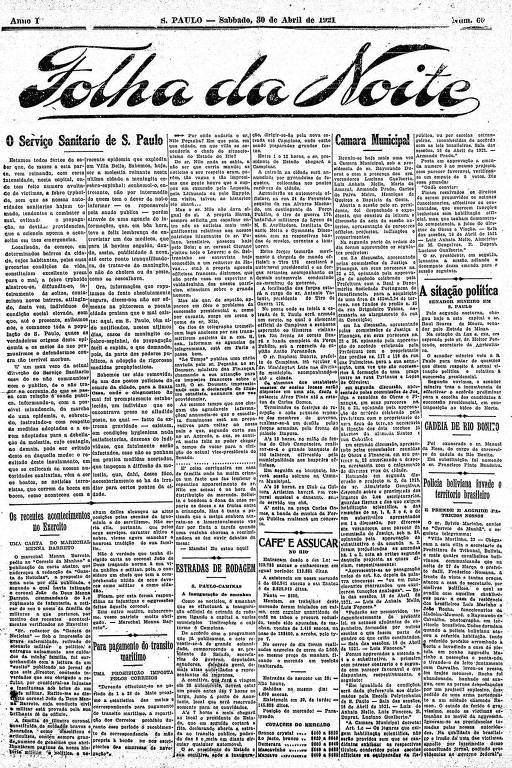 Primeira Página da Folha da Noite de 30 de abril de 1921