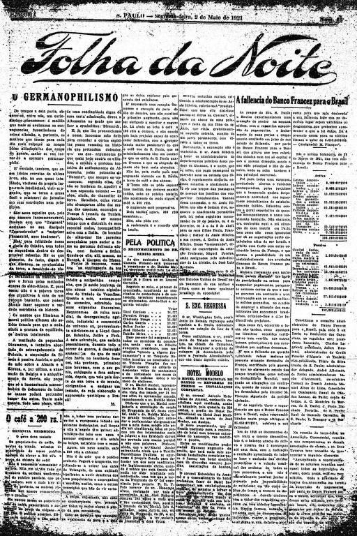 Primeira Página da Folha da Noite de 2 de maio de 1921