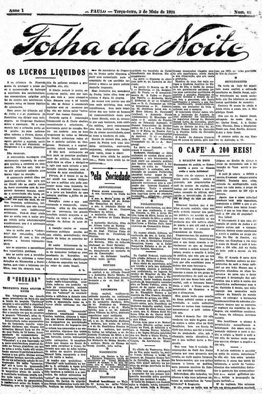 Primeira Página da Folha da Noite de 3 de maio de 1921