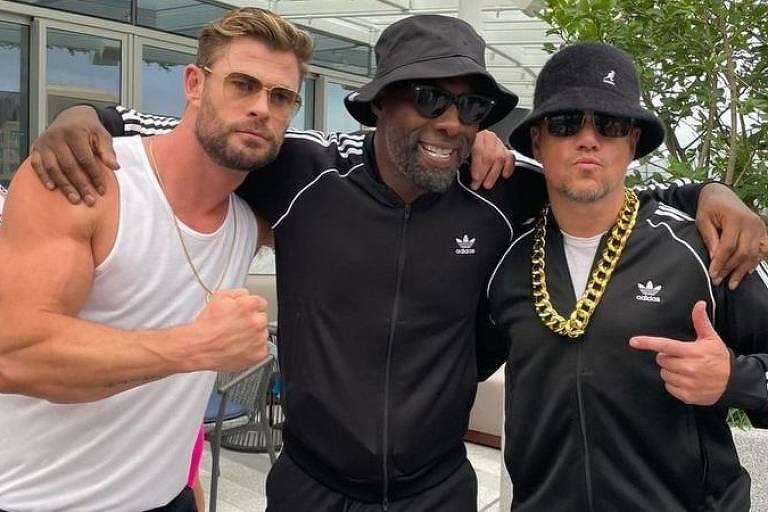 Chris Hemsworth, Idris Elba e Matt Damon, estrelas do filme 'Thor', em uma festa em Sydney