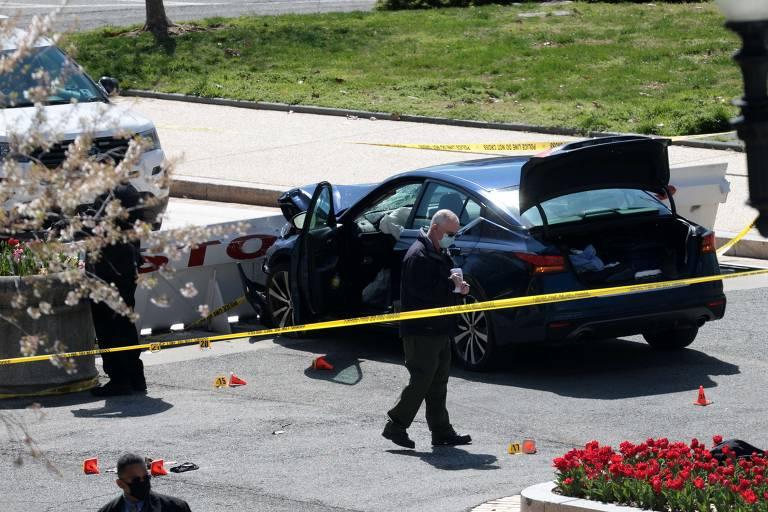 Homem avança com carro contra policiais do Congresso dos EUA
