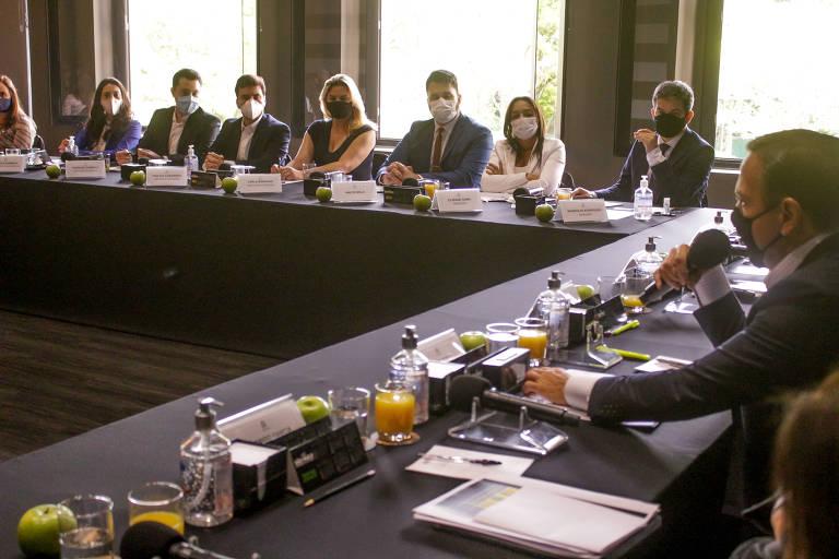O governador João Doria (PSDB) durante reunião semanal de seu secretariado, que ocorre na manhã de sexta