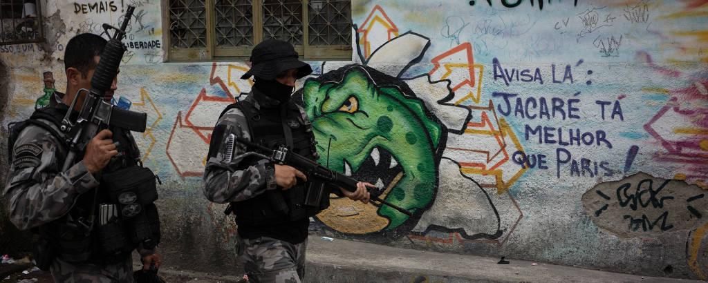 Operação da Polica Militar, na favela do Jacarezinho, zona norte do Rio de Janeiro, em outubro de 2020