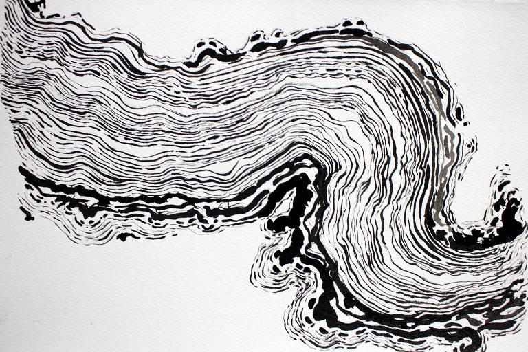 obra abstrata semelhante a uma onda ou um rio visto de cima