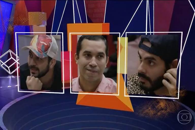 Caio, Gilberto e Rodolffo estão no paredão do BBB 21